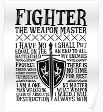 FIGHTER, THE WEAPON MASTER  - Dungeons & Dragons (White) Poster