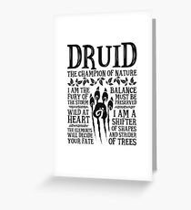 DRUID, THE CHAMPION OF NATURE - Dungeons & Dragons (Black) Greeting Card