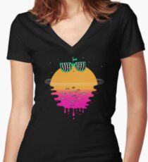 Happy Sunset Women's Fitted V-Neck T-Shirt