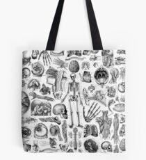 Human Anatomy White Print Tote Bag
