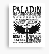 PALADIN, THE OATHBOUND KNIGHT- Dungeons & Dragons (Black) Canvas Print