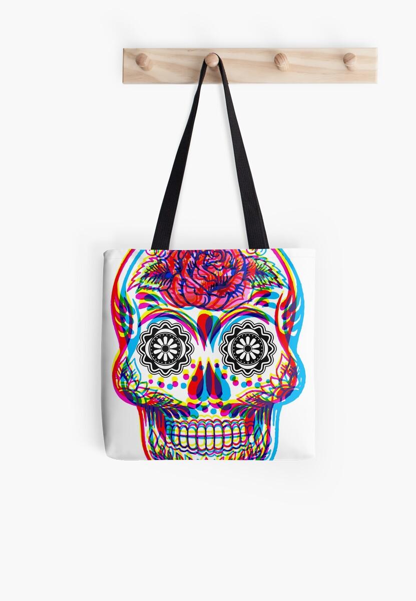68b2953129e hombre Bolsas arte tela mexicano «Cráneo psicodélico de tatuaje BUU1qS60F