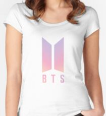 BTS Coloured logo Women's Fitted Scoop T-Shirt