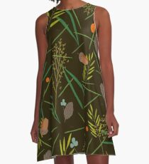 Pattern with the image of the forest cones, fir needles A-Line Dress