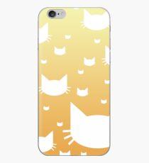 White Cat Pattern with Orange Gradient iPhone Case