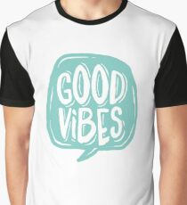 Good Vibes - Turquoise and white Graphic T-Shirt