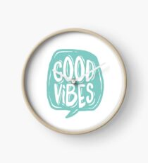 Good Vibes - Turquoise and white Clock
