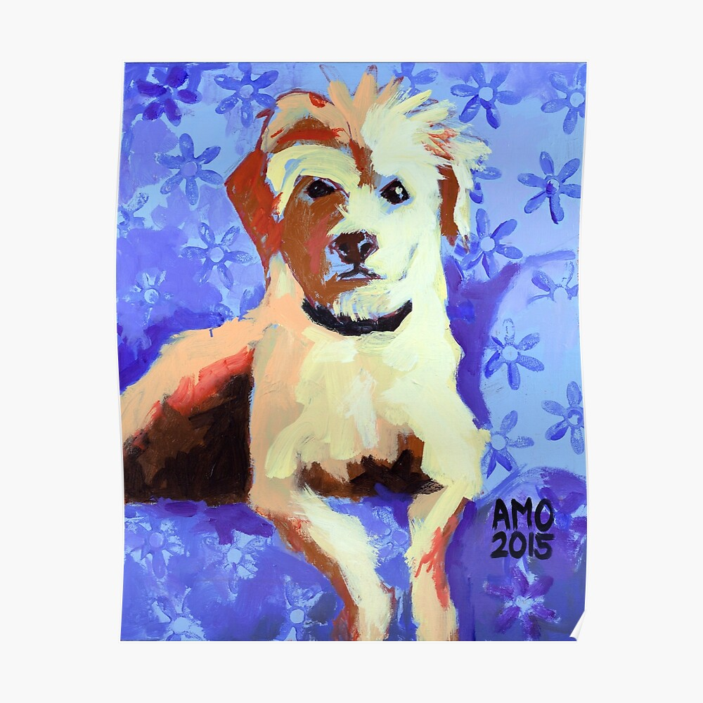 White Terrier with Blue Flowers Poster