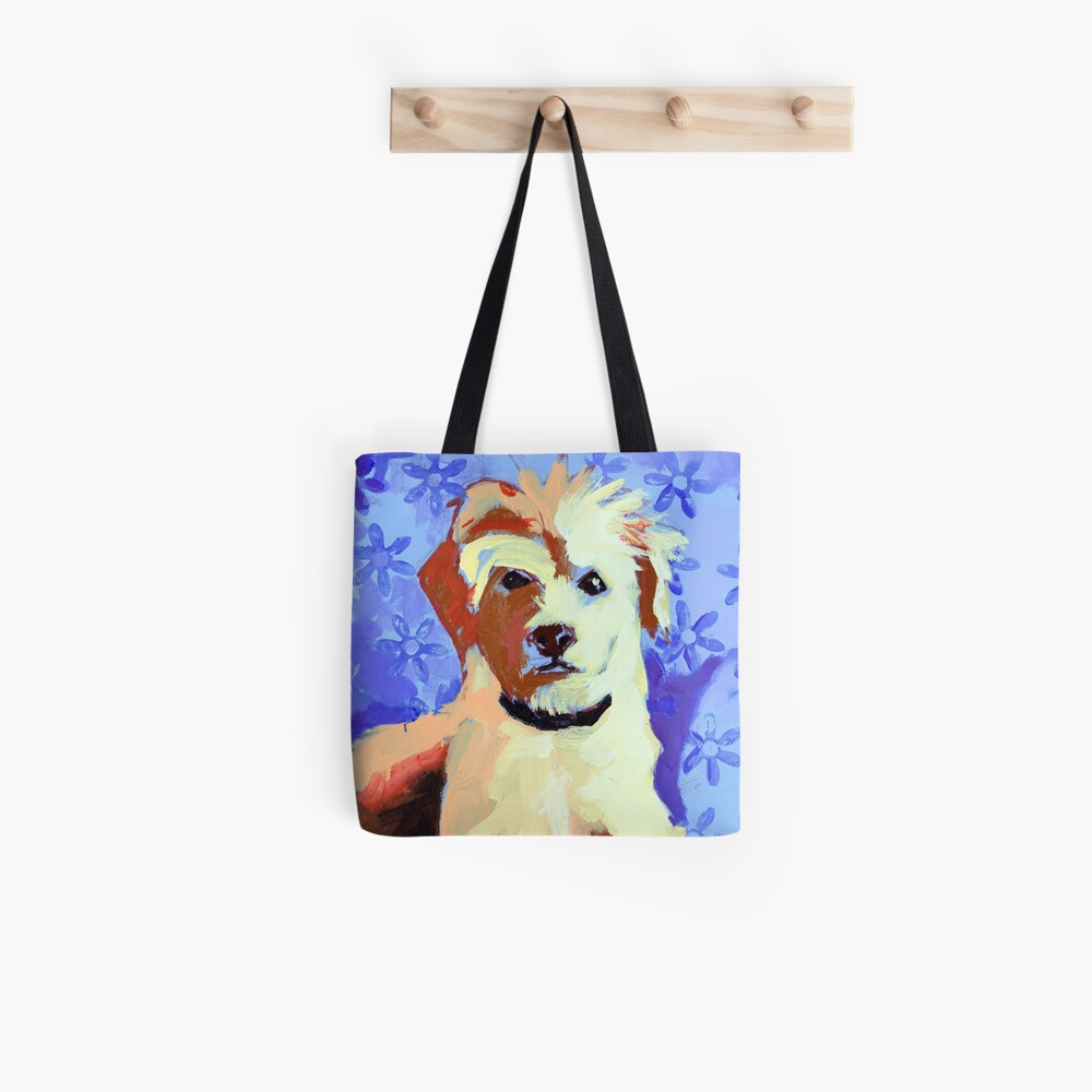 White Terrier with Blue Flowers Tote Bag