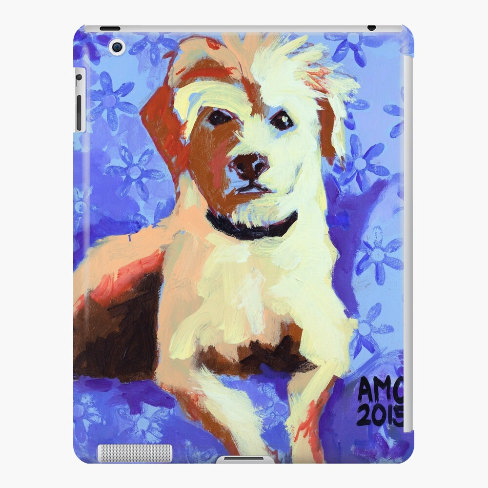 White Terrier with Blue Flowers iPad Case & Skin