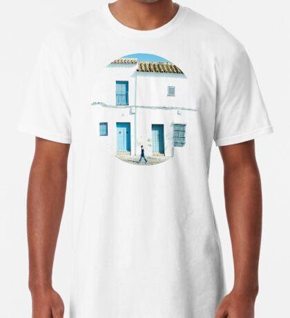 Weiße und blaue Stadt Longshirt