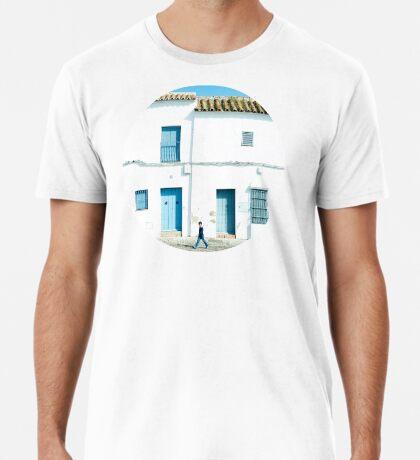 Weiße und blaue Stadt Premium T-Shirt