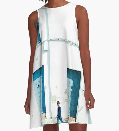 Weiße und blaue Stadt A-Linien Kleid