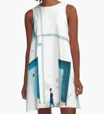 White and blue town A-Line Dress