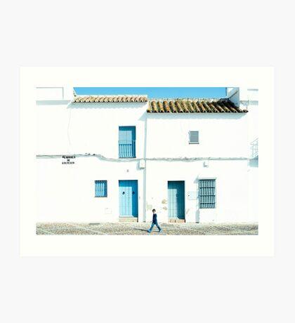 Weiße und blaue Stadt Kunstdruck