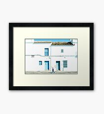 White and blue town Framed Print