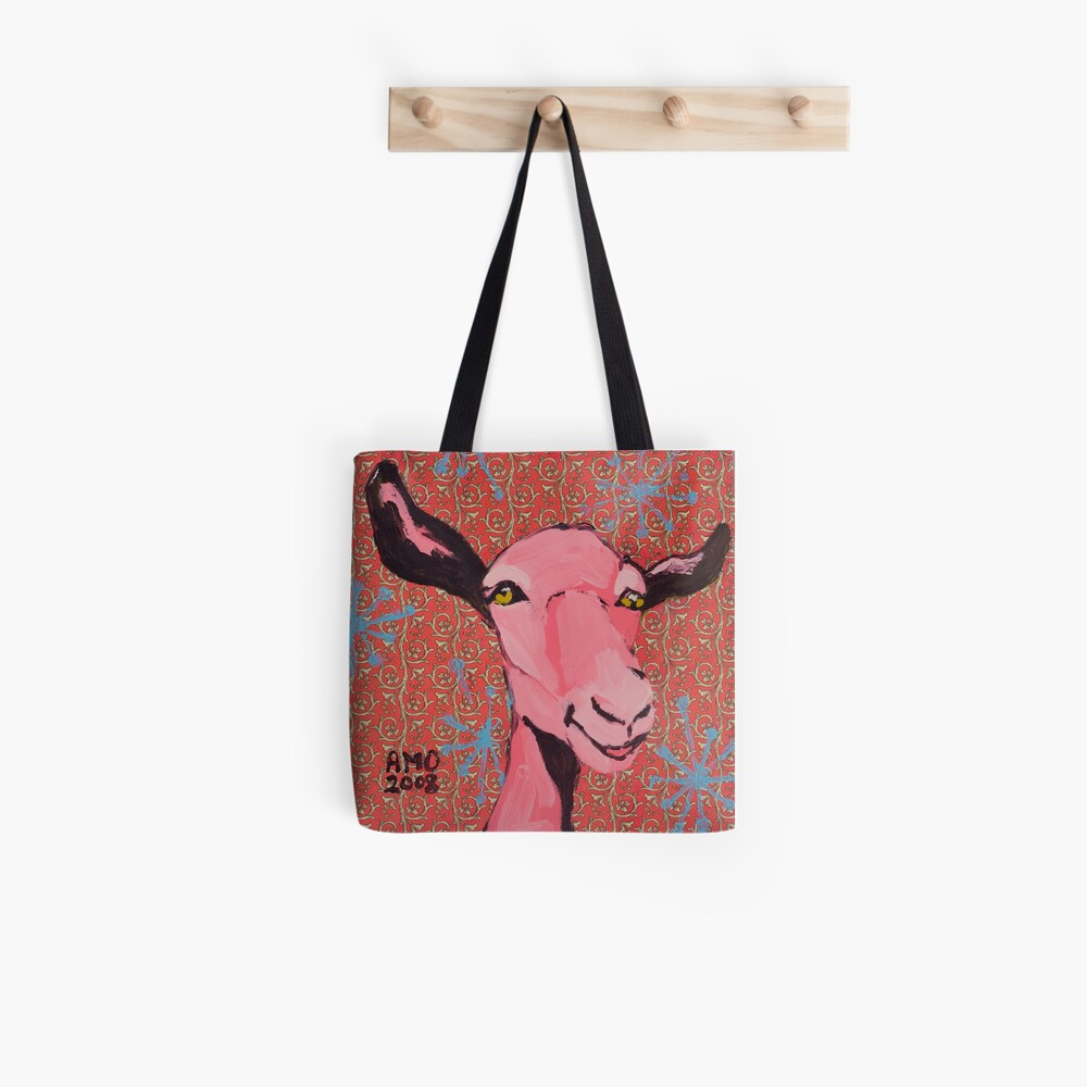 Festive Pink Goat Tote Bag