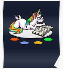 Cute Unicorn Funny Motivational Book Reading Lover Poster