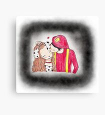 Fireman and Dalmatian girl Canvas Print