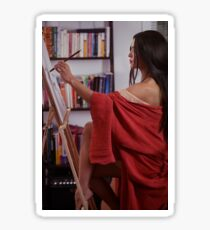 Portrait of asian woman sumi-e artist in red kimono with easel painting in her home studio art print Sticker