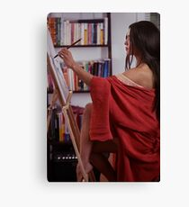 Portrait of asian woman sumi-e artist in red kimono with easel painting in her home studio art print Canvas Print