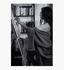 Black and white portrait of asian woman sumi-e artist in kimono with easel painting in her home studio art print Photographic Print