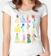 Princesses watercolor Women's Fitted Scoop T-Shirt