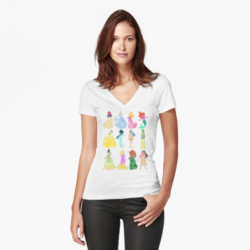 Prinzessinnen Aquarell Tailliertes T-Shirt mit V-Ausschnitt