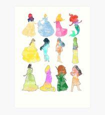 Princesses watercolor Art Print