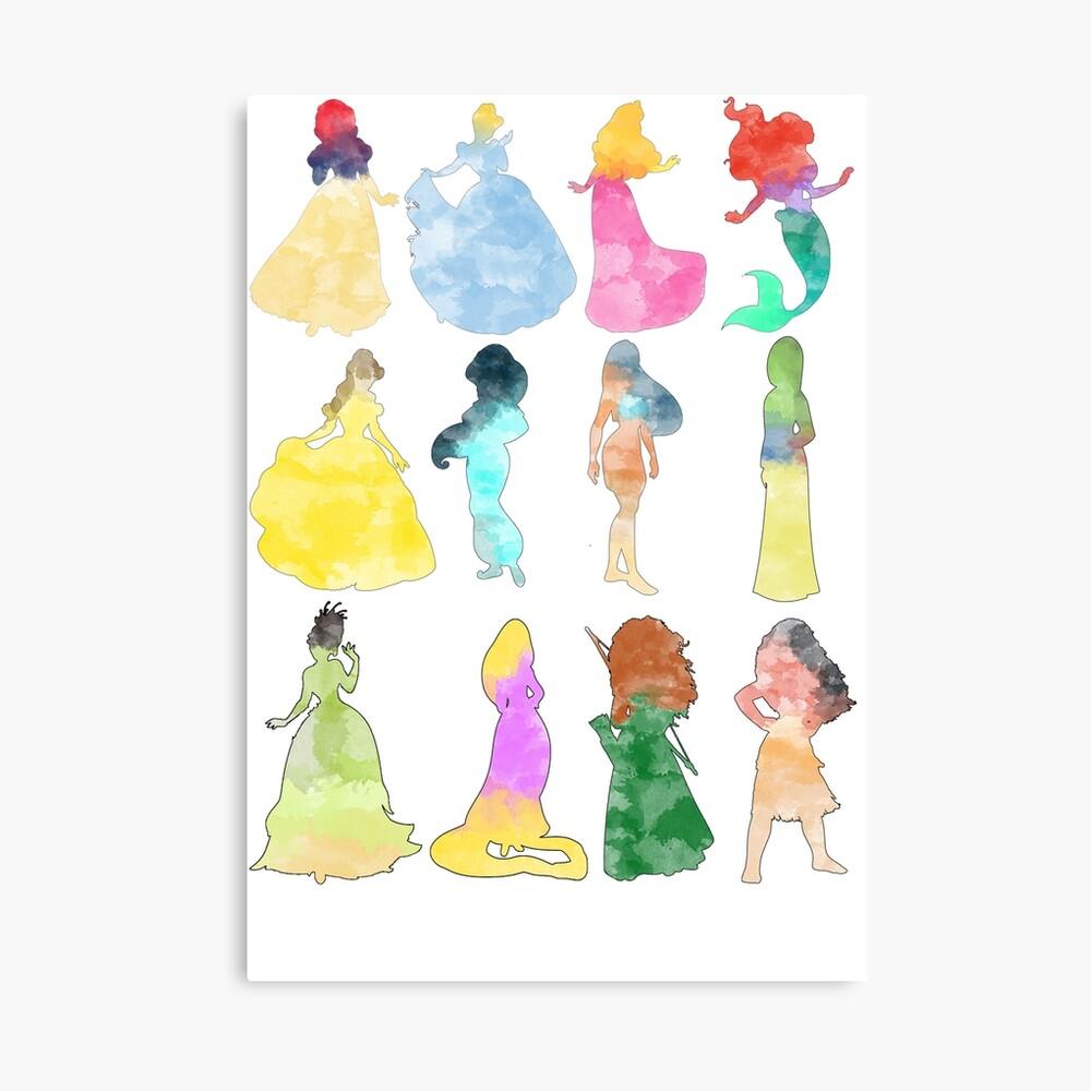 Prinzessinnen Aquarell Leinwanddruck