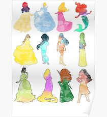Princesses watercolor Poster