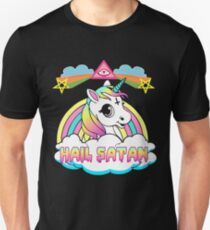 Camiseta unisex Unicornio granizo satan death metal rainbown camiseta