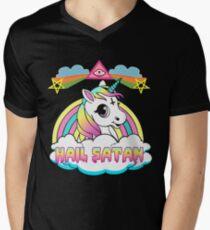 Unicorn hail satan death metal rainbown t-shirt Men's V-Neck T-Shirt