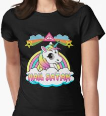 Unicorn grêle t-shirt satan death metal rainbown T-shirt col V femme