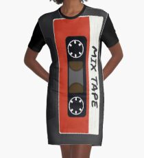 Red Mix Tape Graphic T-Shirt Dress