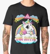 Camiseta premium para hombre Unicornio granizo satan death metal rainbown camiseta