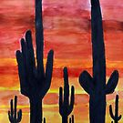Desert Cactus at Sunset by lisavonbiela