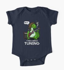 T-Rex Hates Tuning Funny Guitar Cartoon Dinosaur Kids Clothes