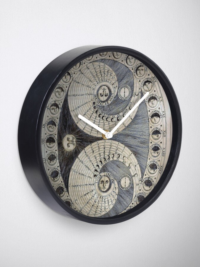 Alternate view of Ancient astronomy diagram charting Phases of the Moon  Clock