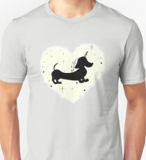 Unicorn Dachshund Silhouette Pattern T-Shirt