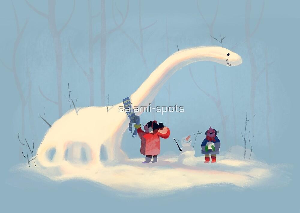Snowy Dinosaur by salami-spots