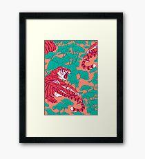 Scarlet tigers on lotus field. Framed Print