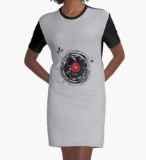 Cool Grunge Enchanting Vinyl Records Vintage Graphic T-Shirt Dress