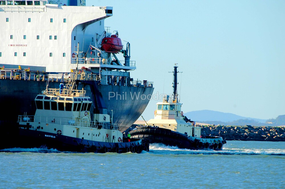 Newcastle Harbour - Far Eastern Express & Tugs by Phil Woodman
