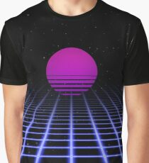 80s Digital Horizon - Sunset Aesthetic Graphic T-Shirt