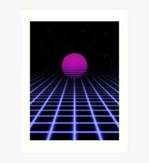 80s Digital Horizon - Sunset Aesthetic Art Print