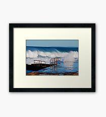 Waves Breaking Over Newcastle Baths Framed Print