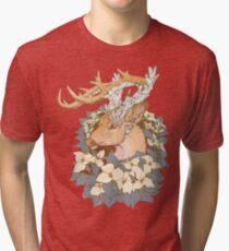Non-typical Blue Quartz Buck Tri-blend T-Shirt