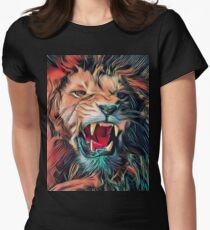 Lion Warrior T-Shirt. Lion Graphic Art. THE LION KING ART. Lion Case. Women's Fitted T-Shirt