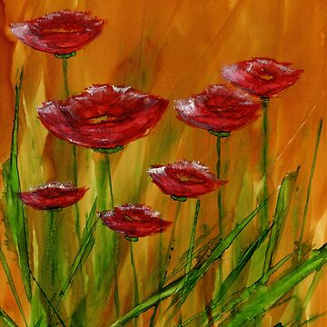 Poppies.  Alcohol Ink Art Painting by Korinnec